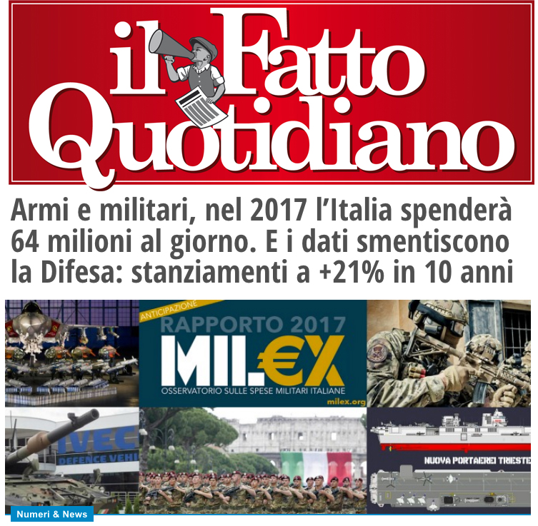 Armi e militari nel 2017 l italia spender 64 milioni al for Soggiorni militari invernali 2016 2017