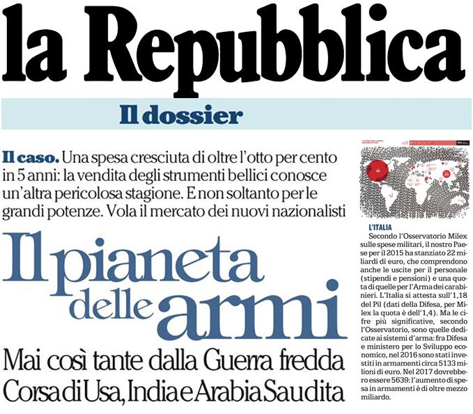Il pianeta della armi: dati MIL€X per l'Italia