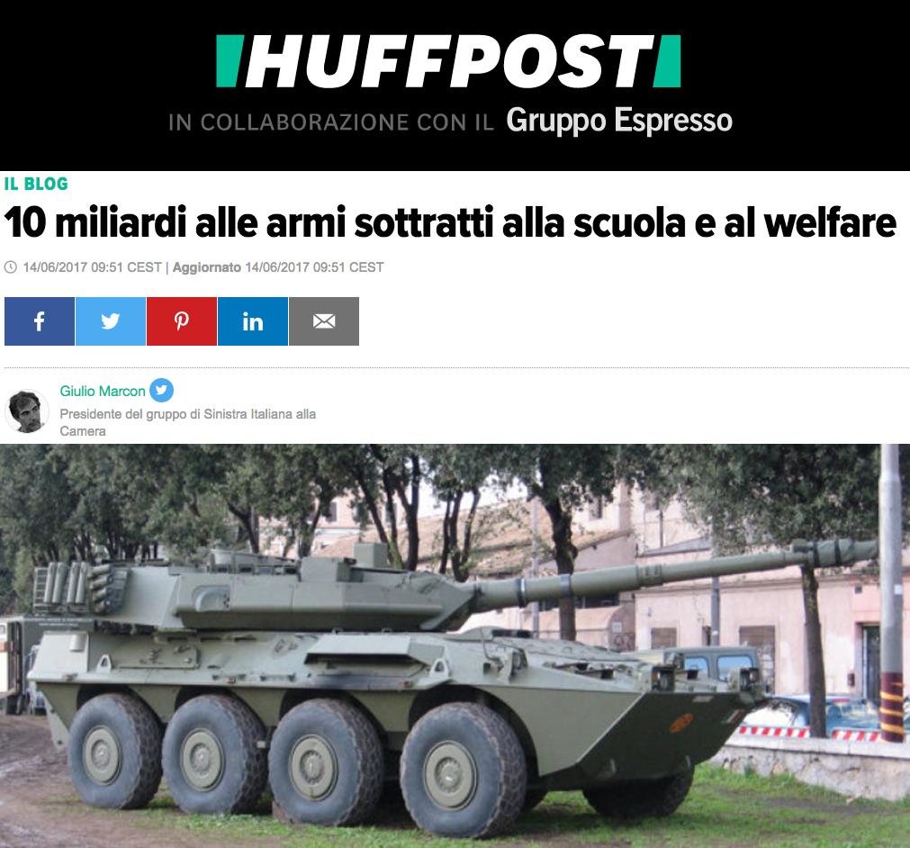 10 miliardi alle armi sottratti alla scuola e al welfare