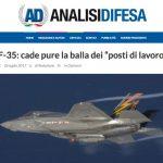 """F-35: cade pure la balla dei """"posti di lavoro"""""""