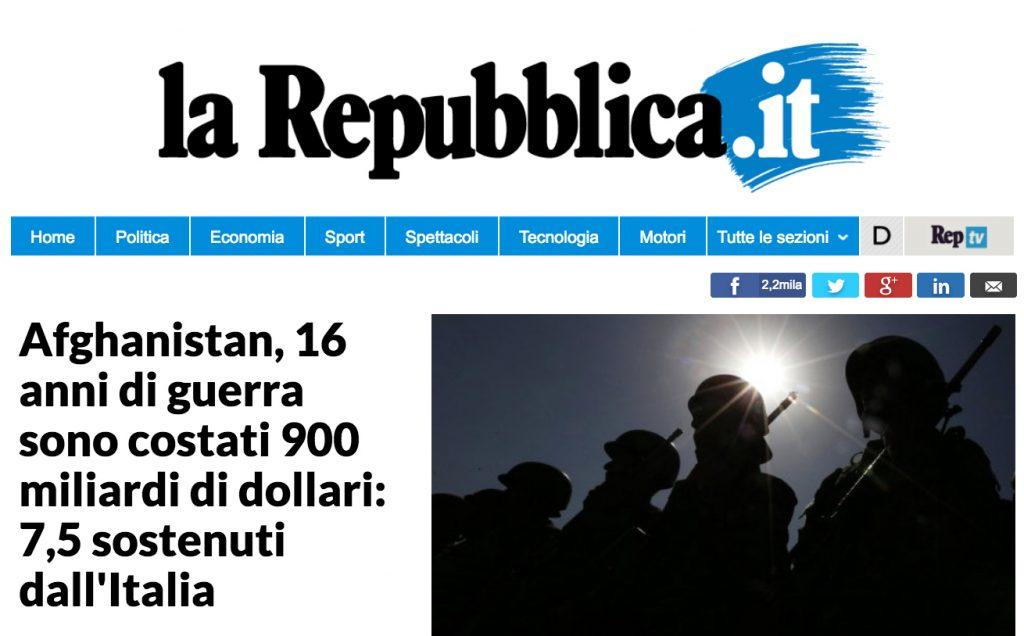 Afghanistan, 16 anni di guerra sono costati 900 miliardi di dollari: 7,5 sostenuti dall'Italia