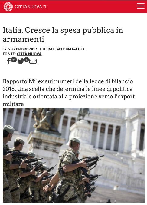 Italia. Cresce la spesa pubblica in armamenti