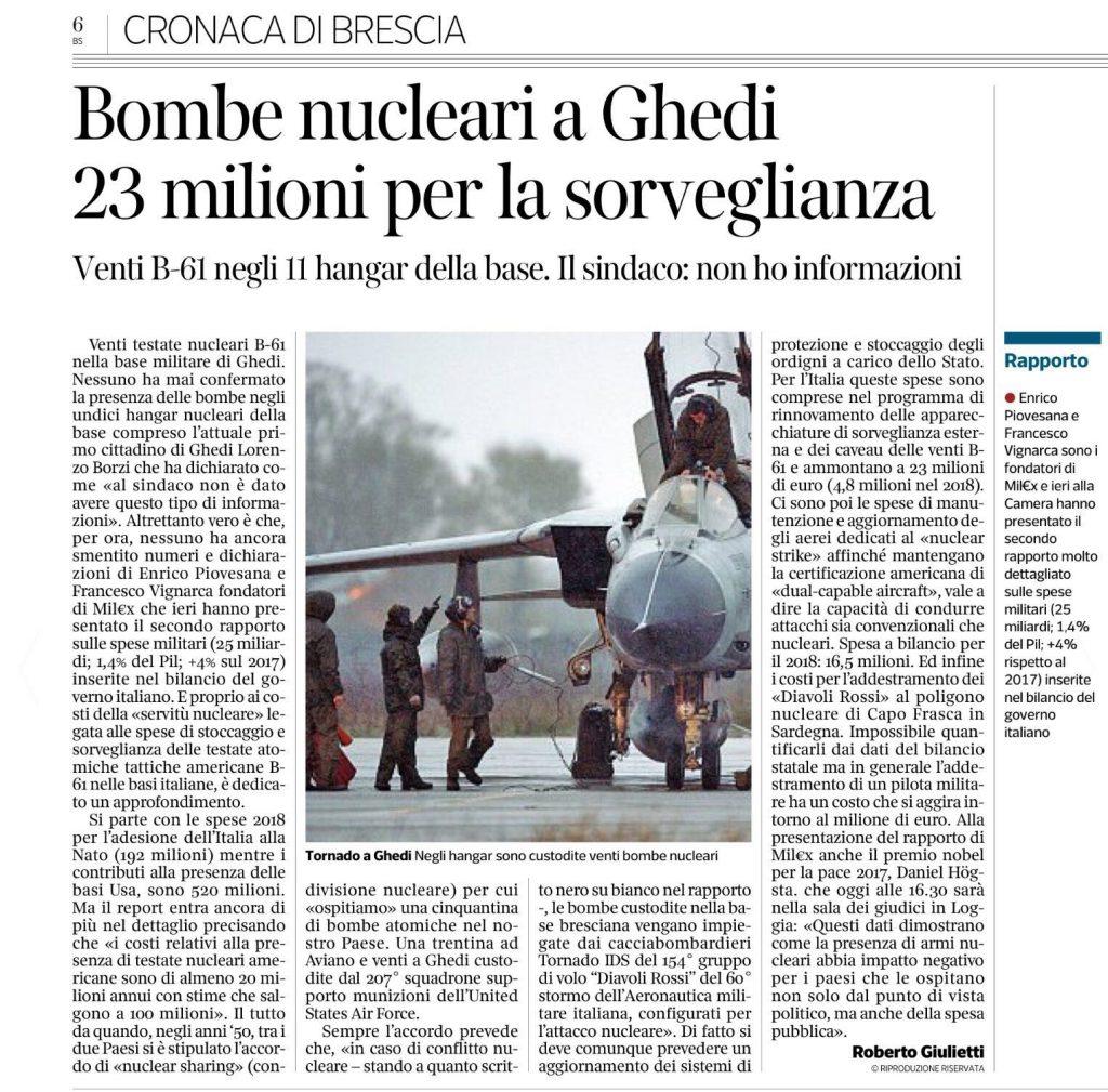 CORRIERE – Bombe nucleari a Ghedi, 23 milioni per la sorveglianza