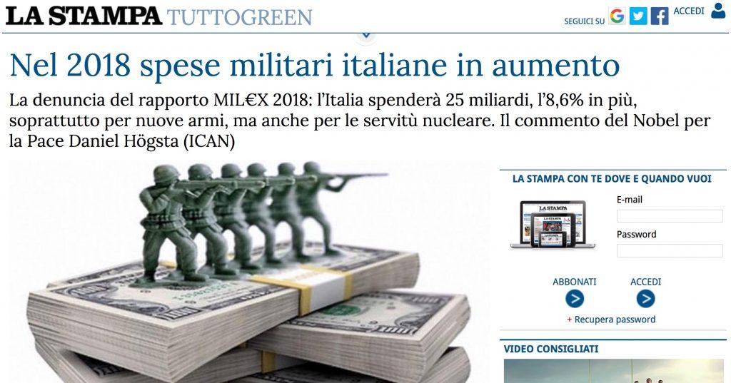 LA STAMPA – Nel 2018 spese militari italiane in aumento