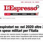 Armi sì, respiratori no: nel 2020 oltre 26 miliardi in spese militari per l'Italia